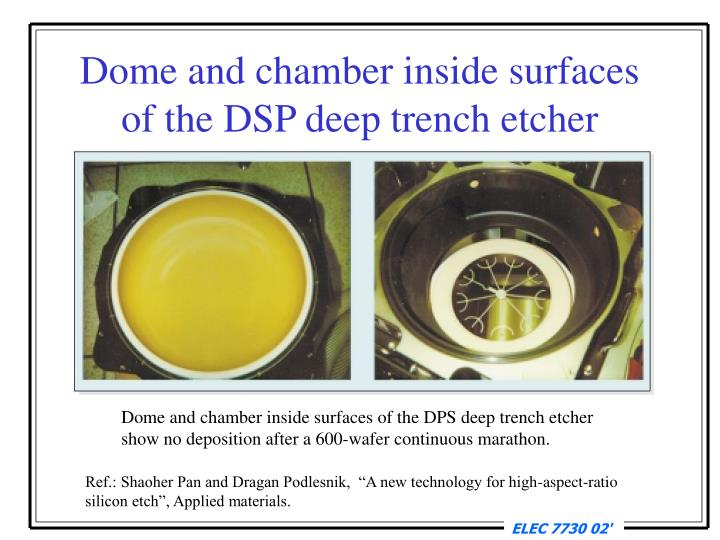 Dome and chamber inside surfaces of the DSP deep trench etcher