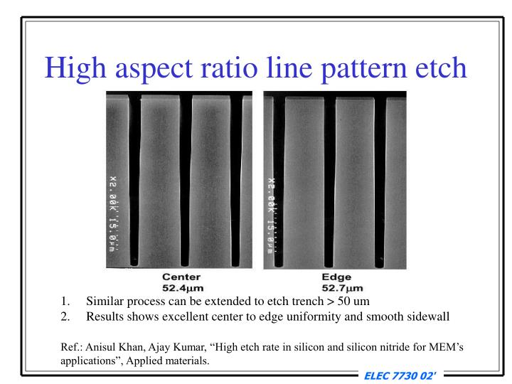 High aspect ratio line pattern etch