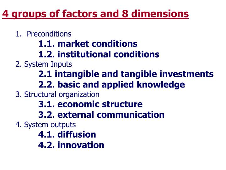 4 groups of factors and 8