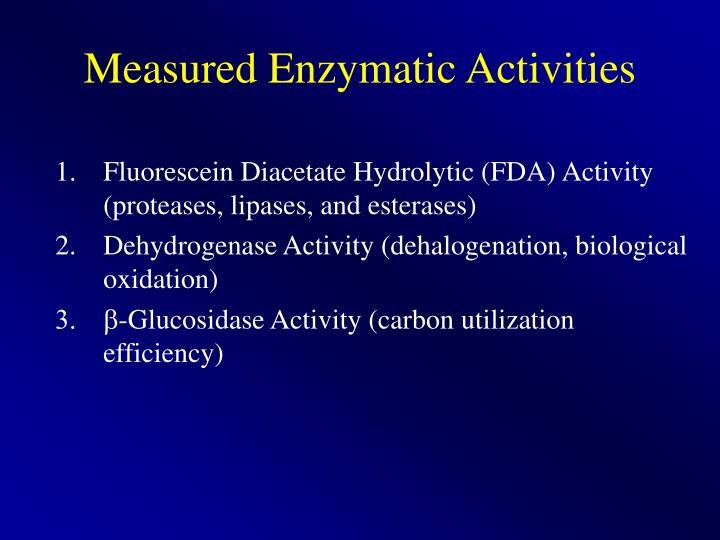 Measured Enzymatic Activities