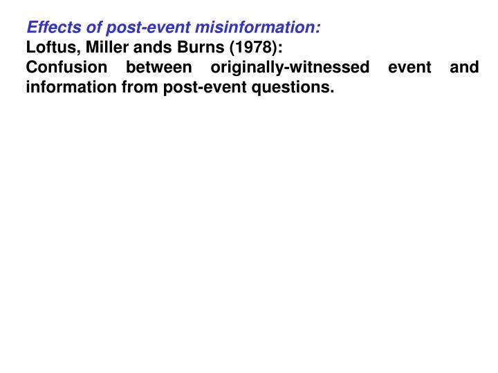 Effects of post-event misinformation: