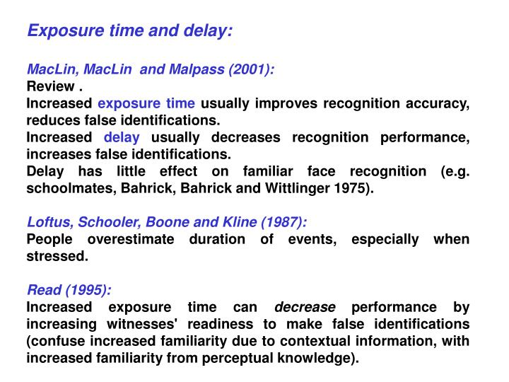 Exposure time and delay: