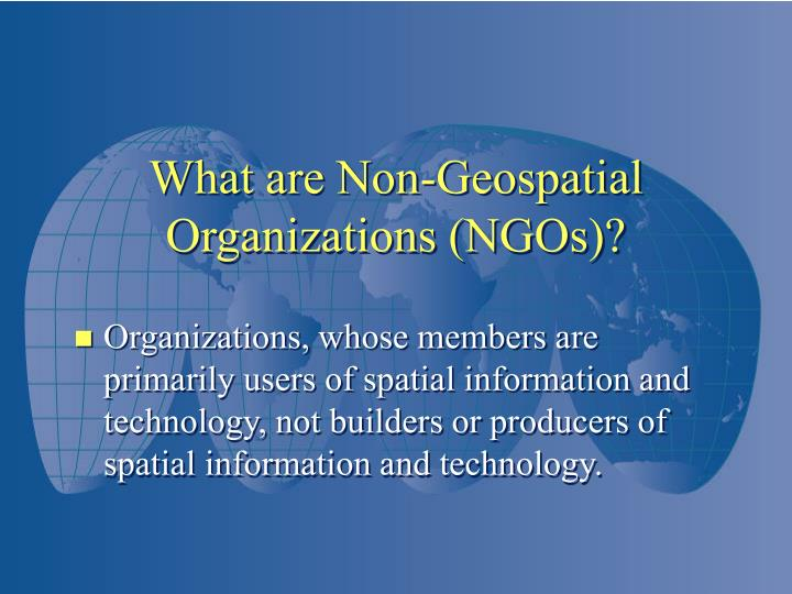 Organizations, whose members are primarily users of spatial information and technology, not builders or producers of spatial information and technology.