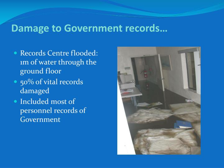 Records Centre flooded: 1m of water through the ground floor
