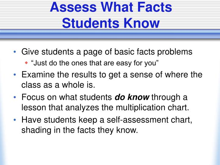 Assess What Facts