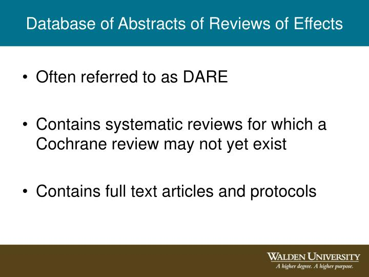Database of Abstracts of Reviews of Effects