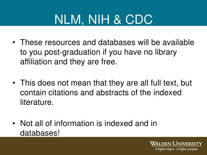 NLM, NIH & CDC