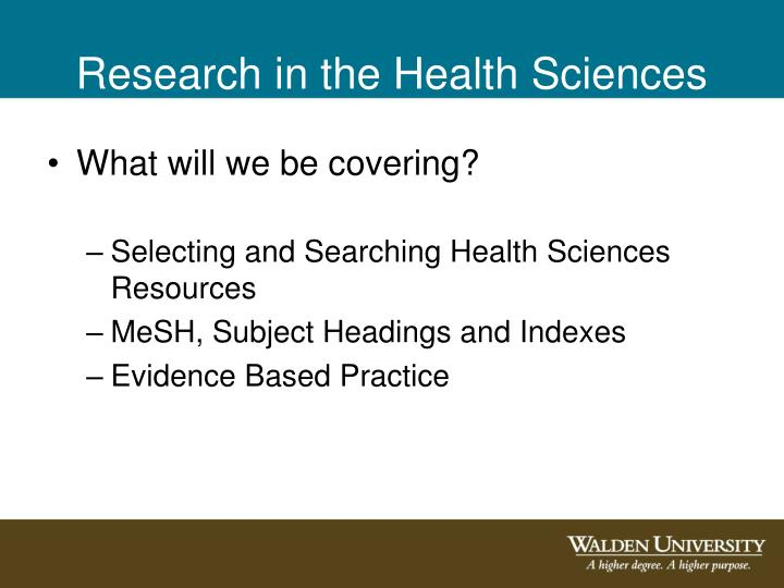 Research in the Health Sciences