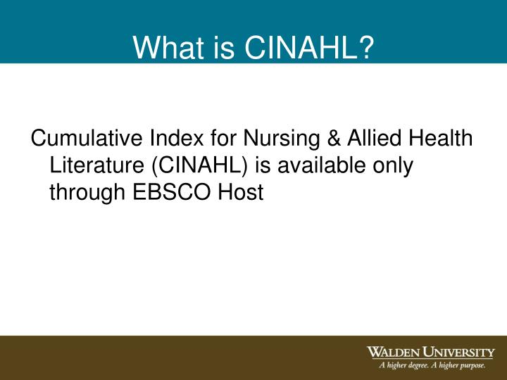What is CINAHL?