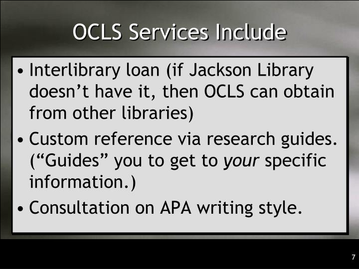 OCLS Services Include