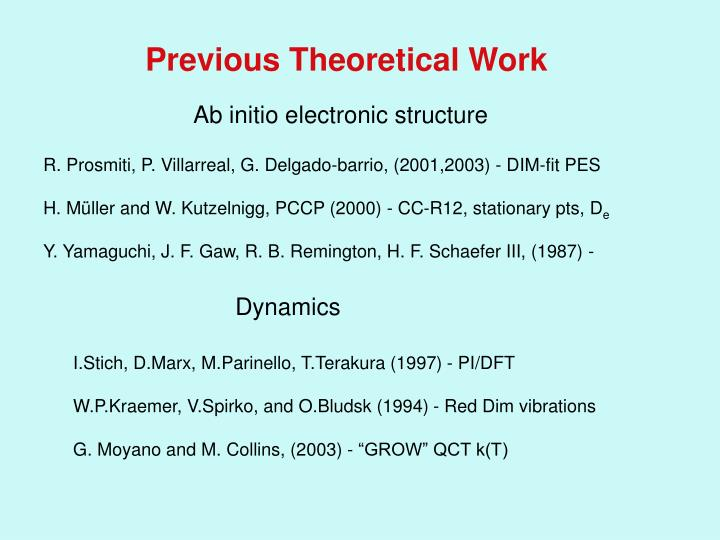 Previous Theoretical Work