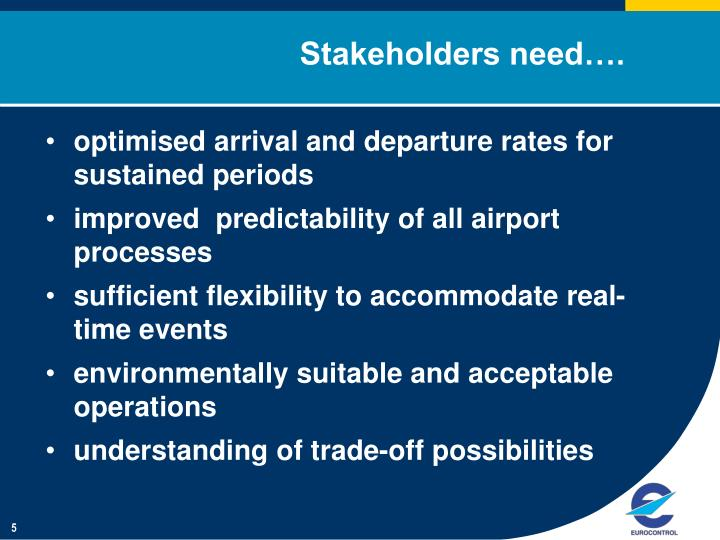 Stakeholders need….