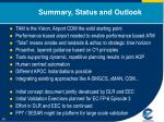 summary status and outlook