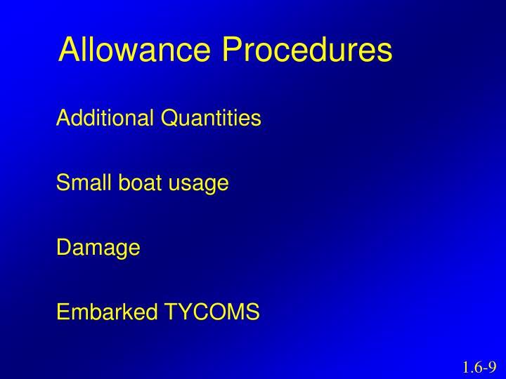 Allowance Procedures