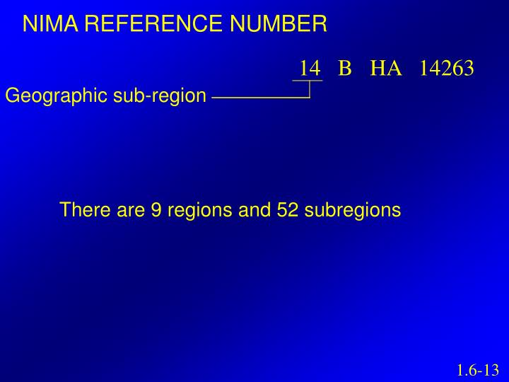NIMA REFERENCE NUMBER