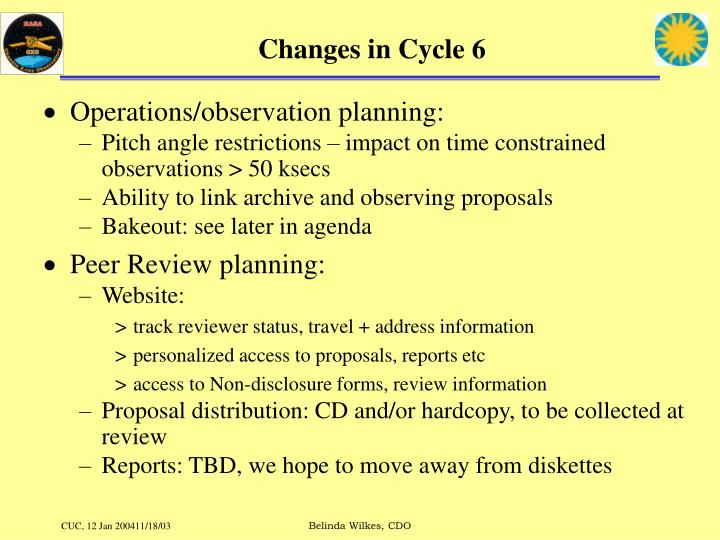 Changes in Cycle 6