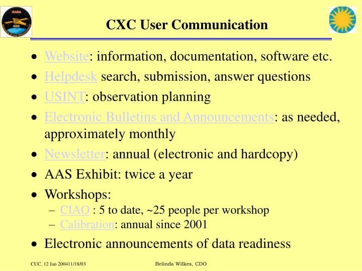 CXC User Communication