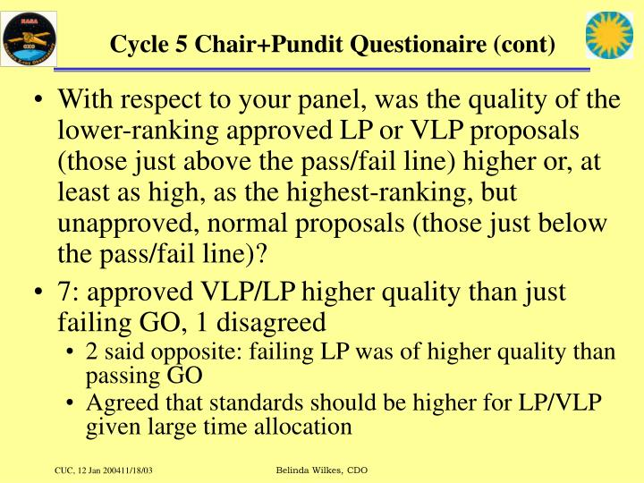 Cycle 5 chair pundit questionaire cont