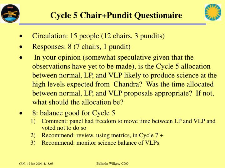 Cycle 5 chair pundit questionaire
