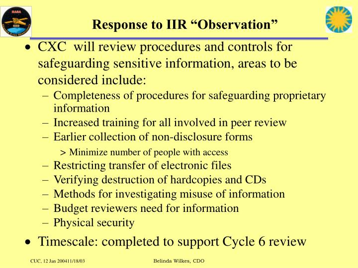 "Response to IIR ""Observation"""