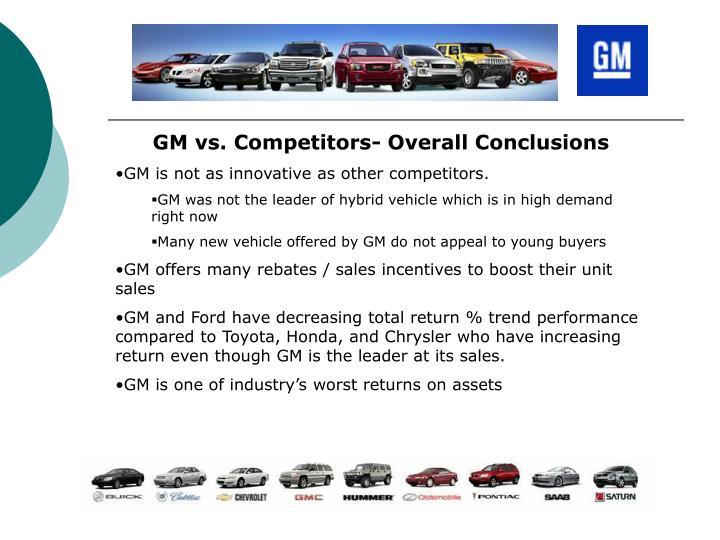 GM vs. Competitors- Overall Conclusions