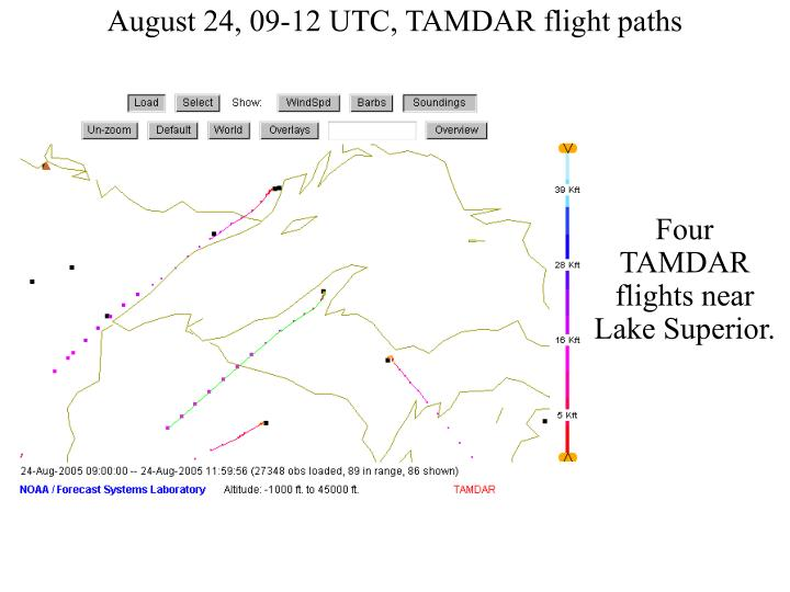August 24, 09-12 UTC, TAMDAR flight paths