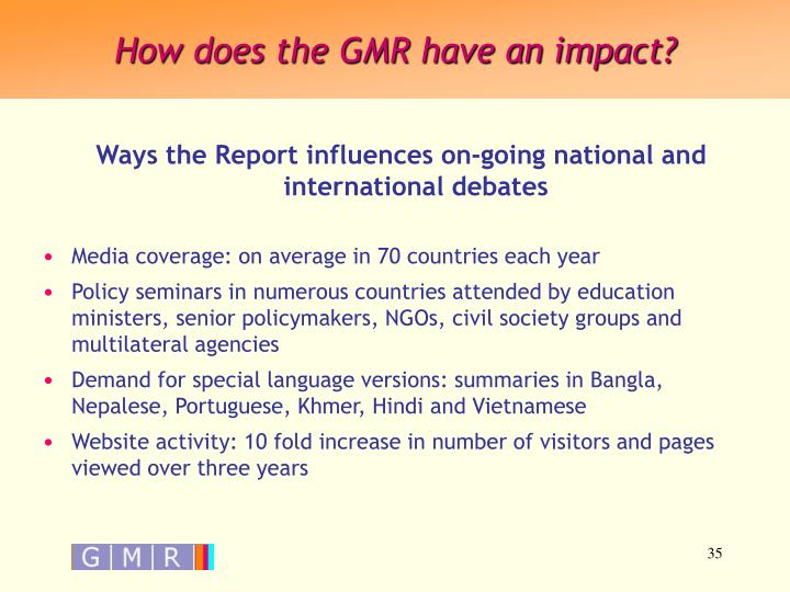 How does the GMR have an impact?