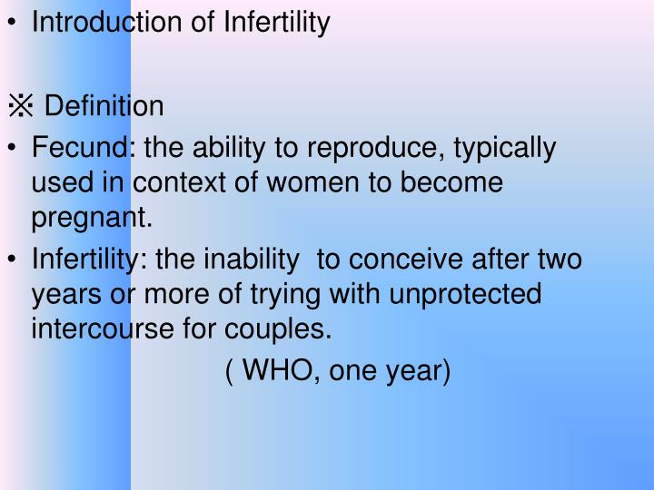 Introduction of Infertility