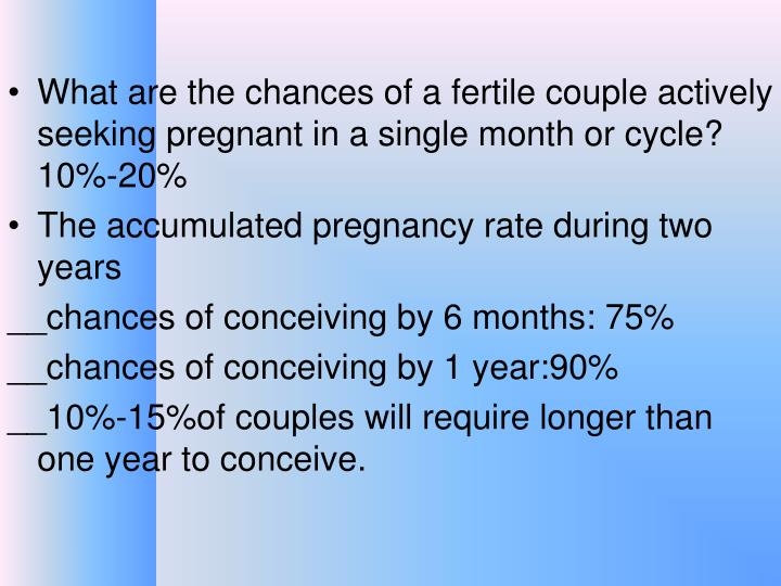 What are the chances of a fertile couple actively seeking pregnant in a single month or cycle?  10%-20%
