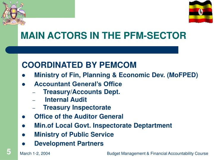 MAIN ACTORS IN THE PFM-SECTOR