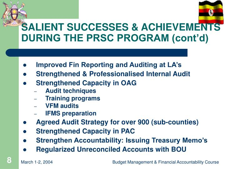 SALIENT SUCCESSES & ACHIEVEMENTS DURING THE PRSC PROGRAM (cont'd)