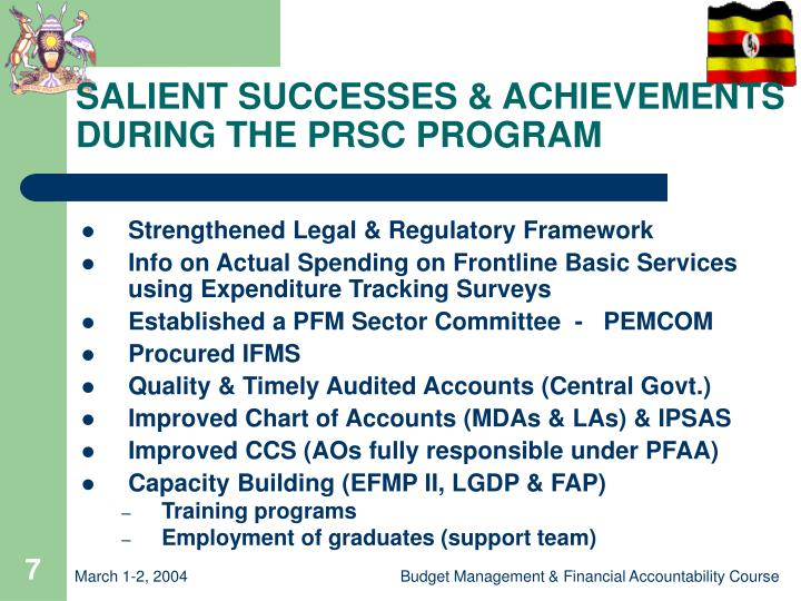 SALIENT SUCCESSES & ACHIEVEMENTS DURING THE PRSC PROGRAM