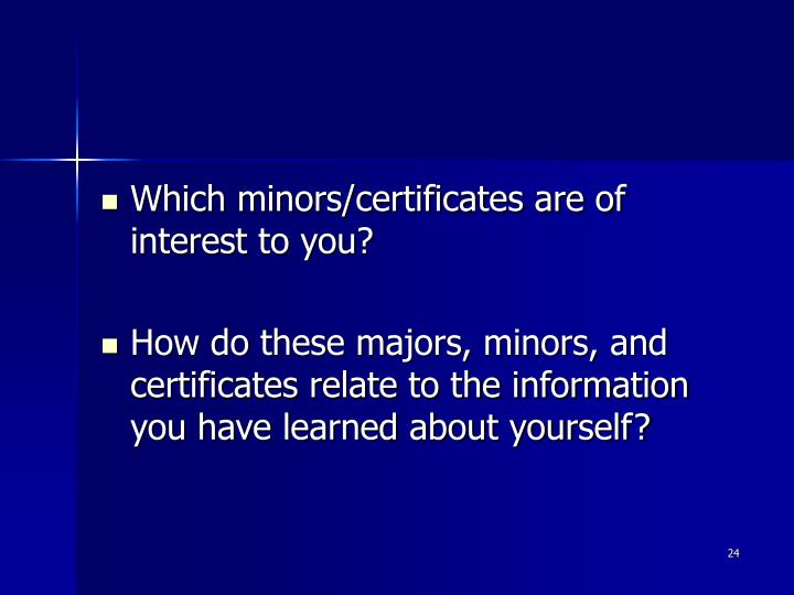 Which minors/certificates are of interest to you?