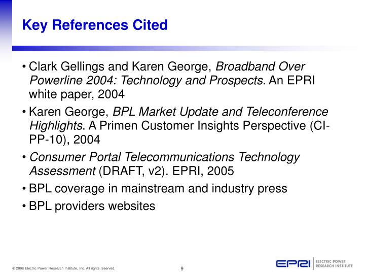 Key References Cited