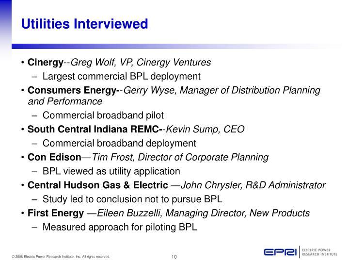 Utilities Interviewed