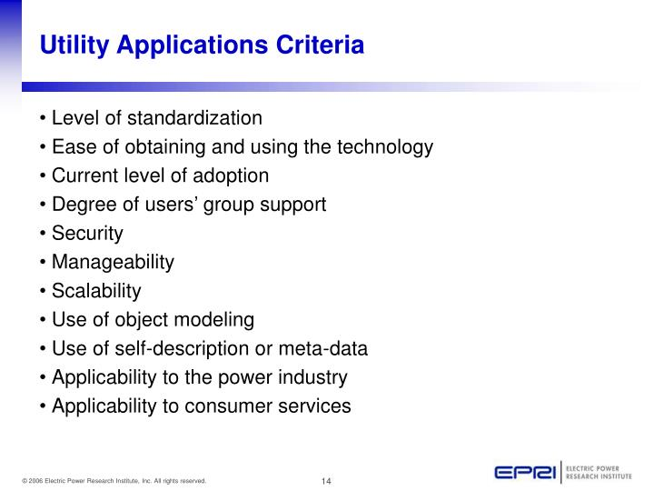 Utility Applications Criteria