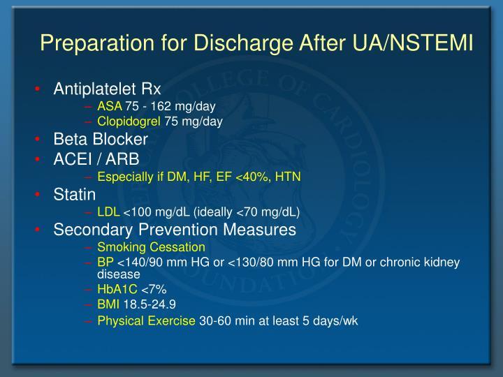 Preparation for Discharge After UA/NSTEMI