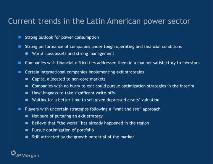 Current trends in the Latin American power sector