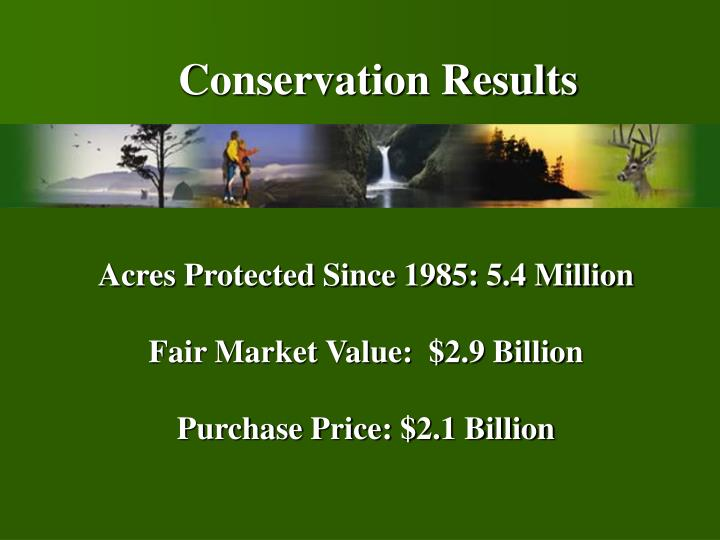 Acres protected since 1985 5 4 million fair market value 2 9 billion purchase price 2 1 billion