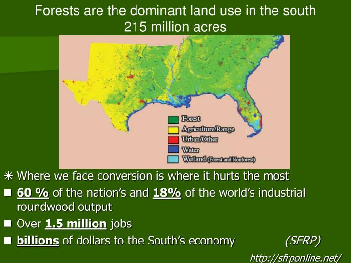Forests are the dominant land use in the south