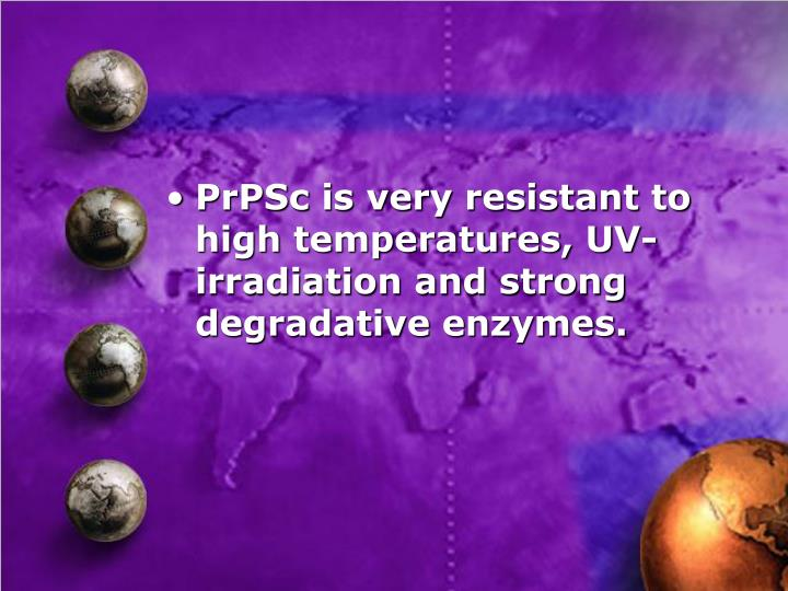 PrPSc is very resistant to high temperatures, UV-irradiation and strong degradative enzymes.