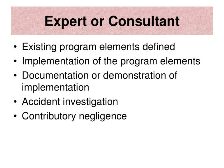 Expert or Consultant