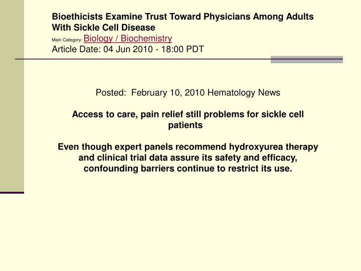 Bioethicists Examine Trust Toward Physicians Among Adults With Sickle Cell Disease
