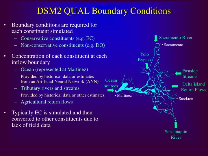 DSM2 QUAL Boundary Conditions