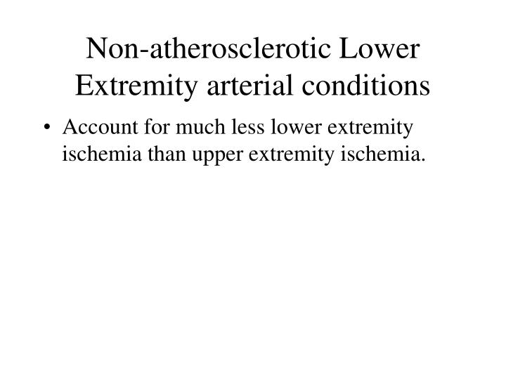 Non-atherosclerotic Lower Extremity arterial conditions