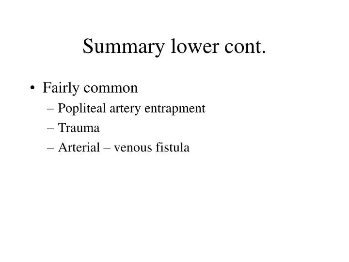 Summary lower cont.