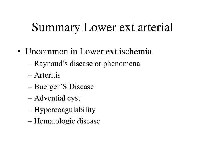 Summary Lower ext arterial