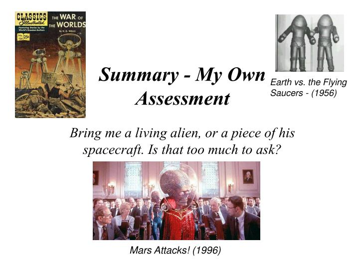 Summary - My Own Assessment