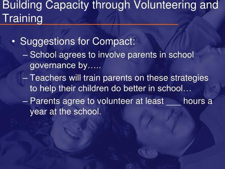 Building Capacity through Volunteering and Training