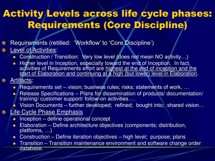 Activity Levels across life cycle phases: Requirements